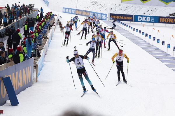26.01.2020, Pokljuka, Slovenia (SLO):Antonin Guigonnat (FRA), Lukas Hofer (ITA), Arnd Peiffer (GER), (l-r) -  IBU world cup biathlon, mass men, Pokljuka (SLO). www.nordicfocus.com. © Manzoni/NordicFocus. Every downloaded picture is fee-liable.