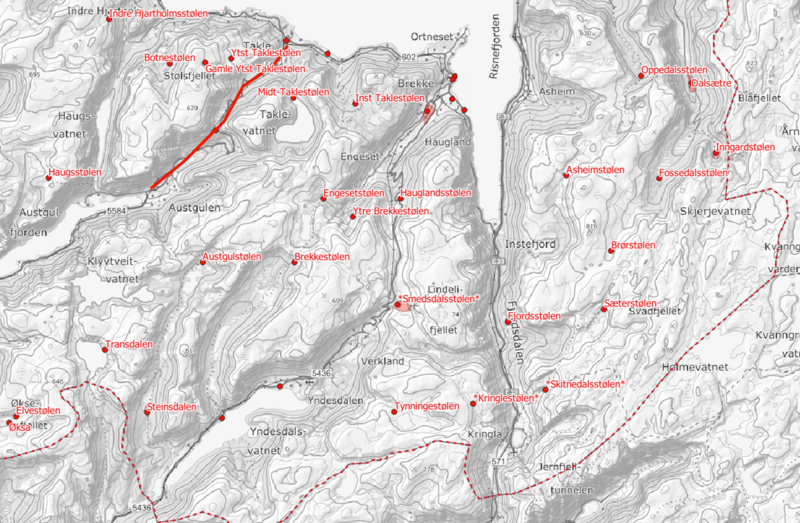 Kart over stølar