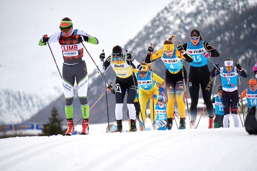 02.12.2018, Livigno, Italy (ITA):Justyna Kowalczyk (POL), Britta Johansson Norgren (SWE), Astrid Oyre Slind (NOR), Lina Korsgren (SWE), Ingeborg Dahl (NOR), (l-r)  - Visma Ski Classics La Sgambeda, Individual Prologue, Livigno (ITA). www.nordicfocus.com.