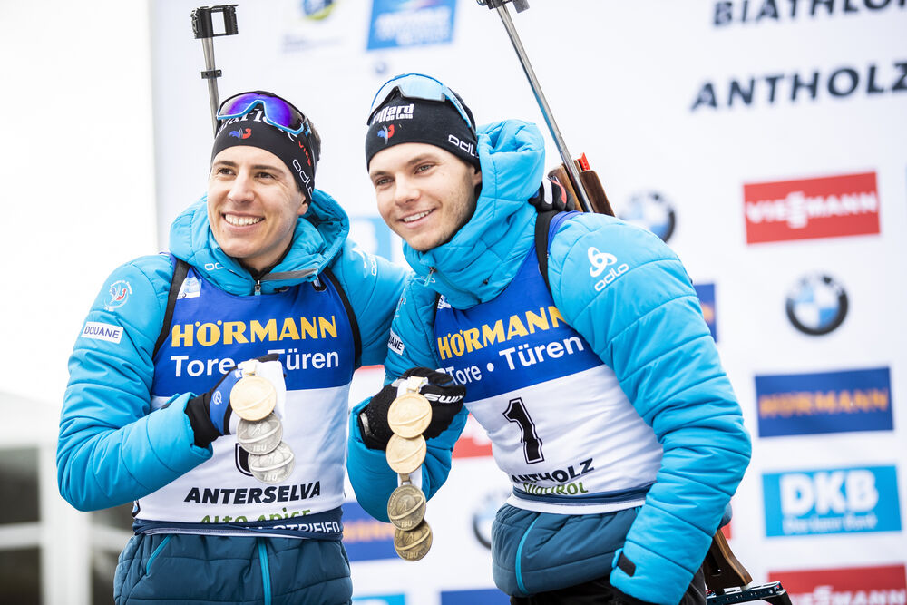 23.02.2020, Antholz, Italy (ITA):Quentin Fillon Maillet (FRA), Emilien Jacquelin (FRA), (l-r) - IBU world championships biathlon, medals, Antholz (ITA). www.nordicfocus.com. © Modica/NordicFocus. Every downloaded picture is fee-liable.