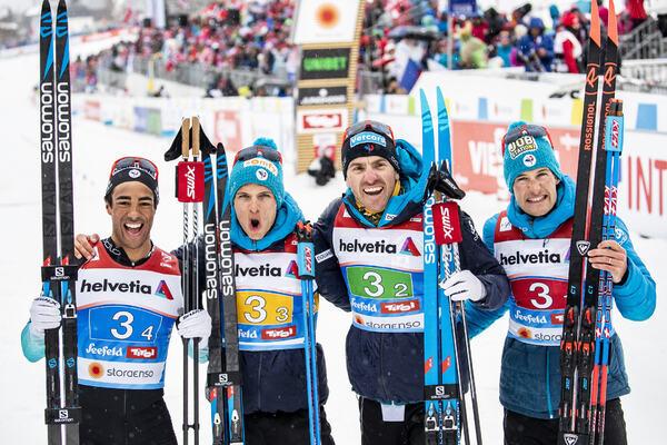 01.03.2019, Seefeld, Austria (AUT):Richard Jouve ((FRA)), Clement Parisse ((FRA)), Maurice Manificat ((FRA)), Adrien Backscheider ((FRA)), (l-r)  - FIS nordic world ski championships, cross-country, 4x10km men, Seefeld (AUT). www.nordicfocus.com. © Modi