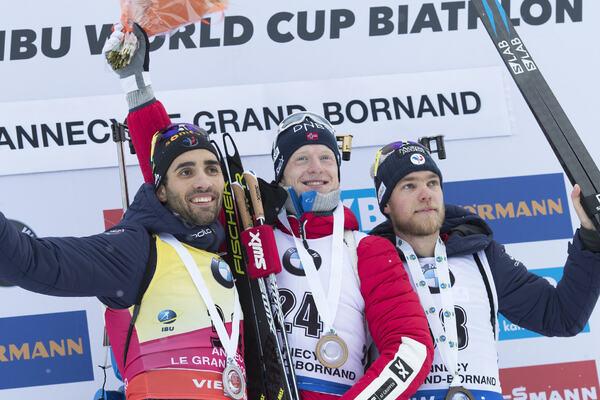 15.12.2017, Annecy-Le Grand Bornand, France (FRA):Martin Fourcade (FRA), Johannes Thingnes Boe (NOR), Antonin Guigonnat (FRA) -  IBU world cup biathlon, sprint men, Annecy-Le Grand Bornand (FRA). www.nordicfocus.com. © Manzoni/NordicFocus. Every downloa