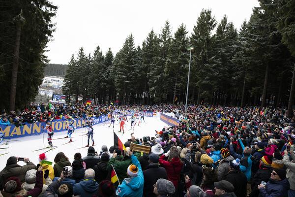 11.01.2020, Oberhof, Germany (GER):Dunja Zdouc (AUT), Elisa Gasparin (SUI), (l-r) -  IBU world cup biathlon, relay women, Oberhof (GER). www.nordicfocus.com. © Manzoni/NordicFocus. Every downloaded picture is fee-liable.
