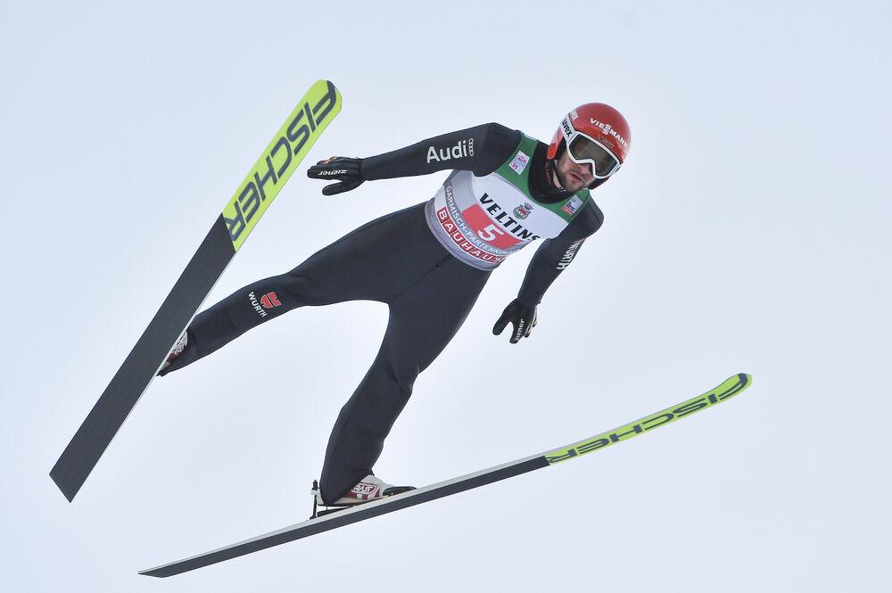 01.01.2020, Garmisch, Germany (GER):Markus Eisenbichler (GER) - FIS world cup ski jumping, four hills tournament, individual HS142, Garmisch (GER). www.nordicfocus.com. © Tumashov/NordicFocus. Every downloaded picture is fee-liable.
