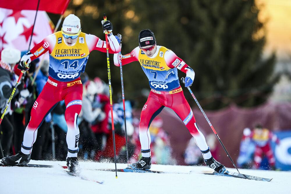 05.01.2020, Val di Fiemme, Italy (ITA):Simen Hegstad Krueger (NOR), Sjur Roethe (NOR), (l-r)  - FIS world cup cross-country, tour de ski, final climb men, Val di Fiemme (ITA). www.nordicfocus.com. © Becchis/NordicFocus. Every downloaded picture is fee-l