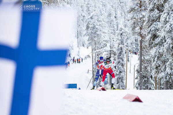01.12.2019, Ruka, Finland (FIN):Emil Iversen (NOR), Iivo Niskanen (FIN), (l-r)  - FIS world cup cross-country, pursuit men, Ruka (FIN). www.nordicfocus.com. © Modica/NordicFocus. Every downloaded picture is fee-liable.