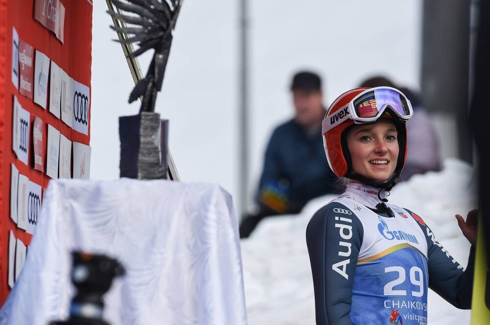 24.03.2019, Chaikovsky, Russia (RUS):Katharina Althaus (GER) - FIS world cup ski jumping ladies, individual HS140, Chaikovsky (RUS). www.nordicfocus.com. © Tumashov/NordicFocus. Every downloaded picture is fee-liable.