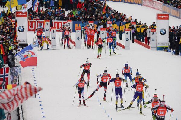 19.01.2020, Ruhpolding, Germany (GER):Florent Claude (BEL), Klemen Bauer (SLO), Sergii Semenov (UKR), Anton Dudchenko (UKR), Michal Krcmar (CZE), Dominik Landertinger (AUT), Lars Helge Birkeland (NOR), Serafin Wiestner (SUI) -  IBU world cup biathlon, pu