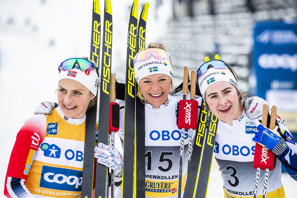 07.03.2020, Oslo, Norway (NOR):Therese Johaug (NOR), Frida Karlsson (SWE), Ebba Andersson (SWE), (l-r)  - FIS world cup cross-country, mass women, Oslo (NOR). www.nordicfocus.com. © Modica/NordicFocus. Every downloaded picture is fee-liable.