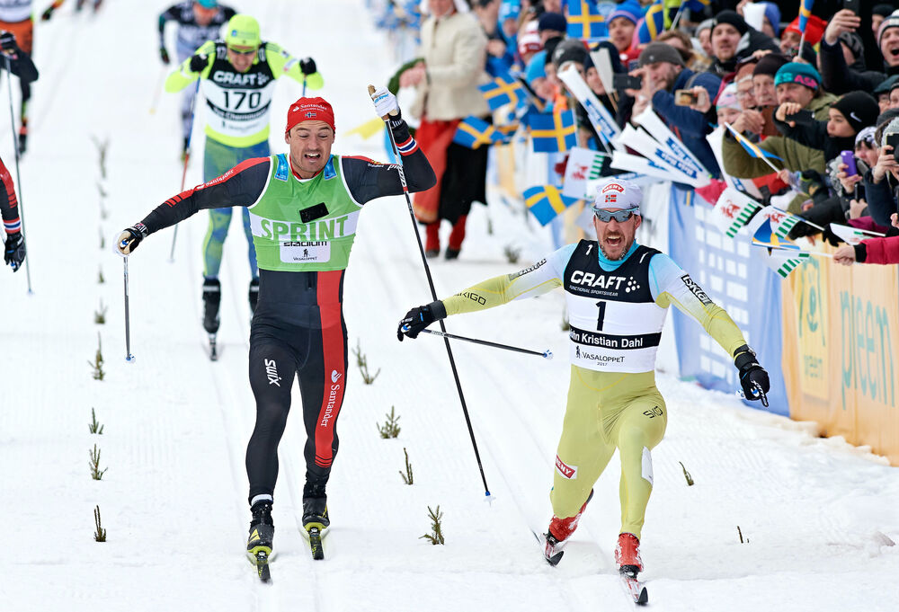05.03.2017, Mora, Sweden (SWE):Andreas Nygaard (NOR), John Kristian Dahl (NOR), (l-r)  - Ski Classics Vasaloppet, Mora (SWE). www.nordicfocus.com. © Rauschendorfer/NordicFocus. Every downloaded picture is fee-liable.