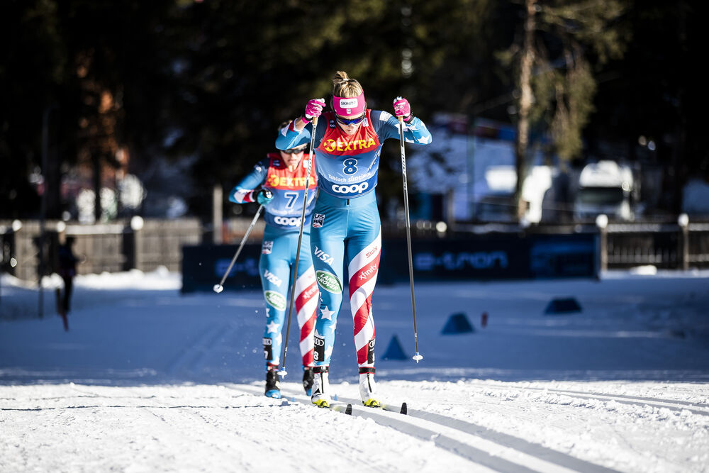 01.01.2020, Toblach, Italy (ITA):Jessica Diggins (USA), Sadie Maubet Bjornsen (USA), (l-r)  - FIS world cup cross-country, tour de ski, pursuit women, Toblach (ITA). www.nordicfocus.com. © Modica/NordicFocus. Every downloaded picture is fee-liable.