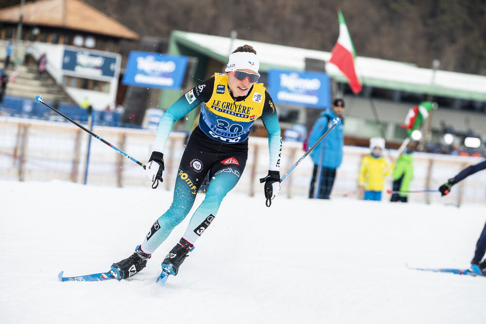 03.01.2020, Val di Fiemme, Italy (ITA):Delphine Claudel (FRA) - FIS world cup cross-country, tour de ski, mass women, Val di Fiemme (ITA). www.nordicfocus.com. © Modica/NordicFocus. Every downloaded picture is fee-liable.