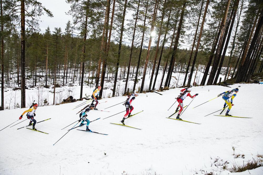 12.03.2020, Kontiolahti, Finland (FIN):Philipp Horn (GER), Antonin Guigonnat (FRA), Benedikt Doll (GER), Johannes Thingnes Boe (NOR), Vladimir Iliev (BUL), Martin Ponsiluoma (SWE), (l-r) -  IBU World Cup Biathlon, sprint men, Kontiolahti (FIN). www.nordi