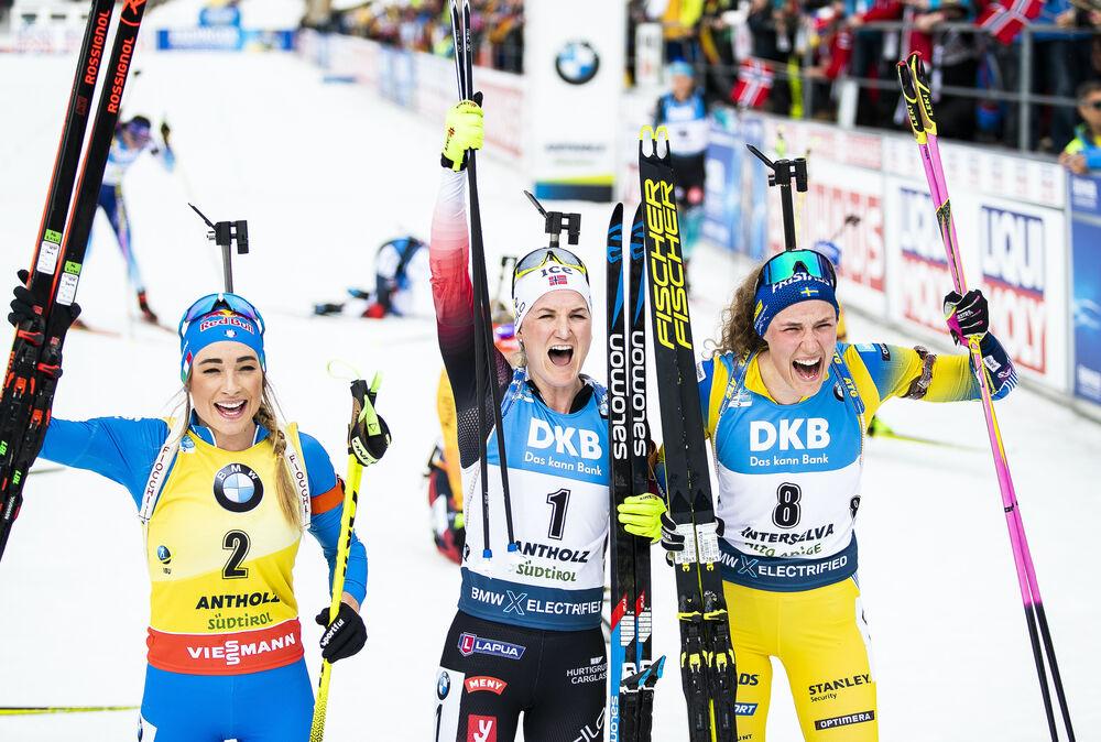 23.02.2020, Antholz, Italy (ITA):Dorothea Wierer (ITA), Marte Olsbu Roeiseland (NOR), Hanna Oeberg (SWE), (l-r) - IBU world championships biathlon, mass women, Antholz (ITA). www.nordicfocus.com. © Modica/NordicFocus. Every downloaded picture is fee-lia