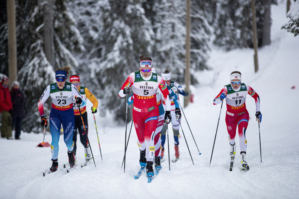29.11.2019, Ruka, Finland (FIN):Laurien Van Der Graaff (SUI), Ane Appelkvist Stenseth (NOR), Anna Svendsen (NOR), (l-r)  - FIS world cup cross-country, individual sprint, Ruka (FIN). www.nordicfocus.com. © Modica/NordicFocus. Every downloaded picture is