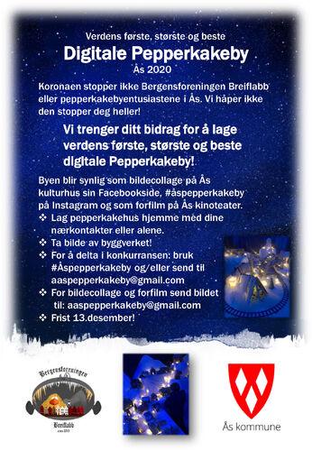 Plakat med informasjon om årets digitale pepperkakeby