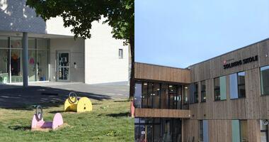 Fotomontasje som viser Solbergtunet barnehage og Solberg skole