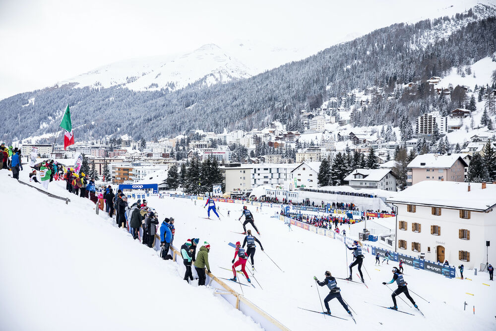 14.12.2019, Davos, Switzerland (SUI): View of the stadium and Davos Bunda  - FIS world cup cross-country, individual sprint, Davos (SUI). www.nordicfocus.com. © Modica/NordicFocus. Every downloaded picture is fee-liable.