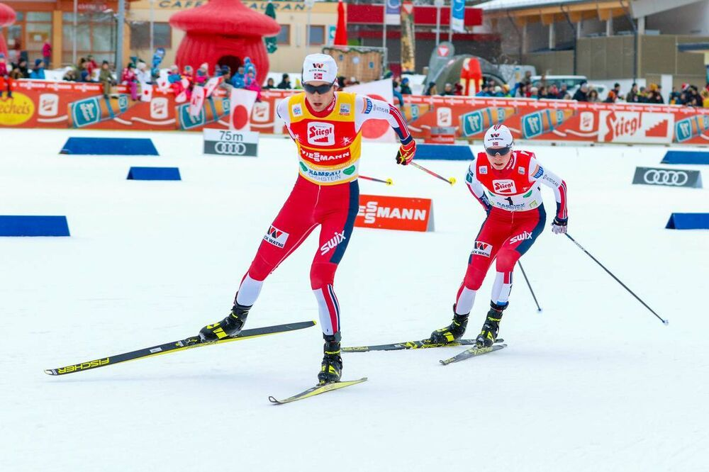 22.12.2019, Ramsau, Austria (AUT):Jarl Riiber (NOR), Jens Oftebro (l-r)  - FIS world cup nordic combined, individual gundersen HS98/10km, Ramsau (AUT). www.nordicfocus.com. © Volk/NordicFocus. Every downloaded picture is fee-liable.