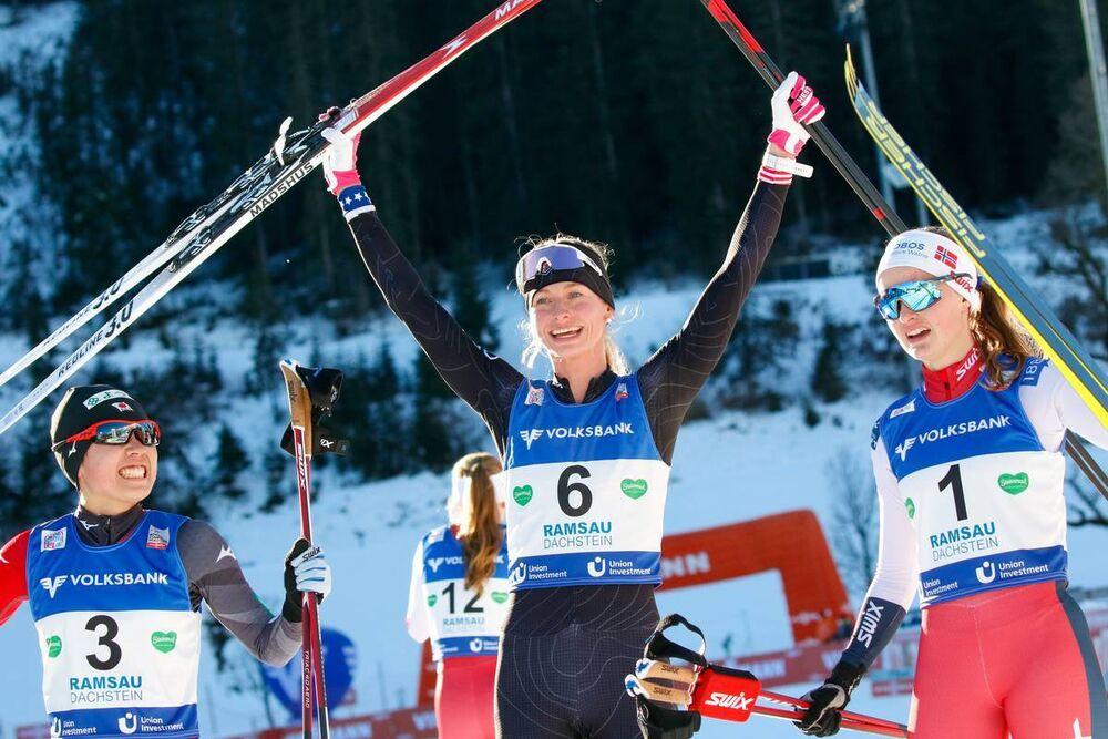 18.12.2020, Ramsau, Austria (AUT):Anju Nakamura (JPN), Tara Geraghty-Moats (USA), Gyda Westvold-Hansen (NOR) (l-r)  - FIS world cup nordic combined women, individual gundersen HS98/5km, Ramsau (AUT). www.nordicfocus.com. © Volk/NordicFocus. Every downlo