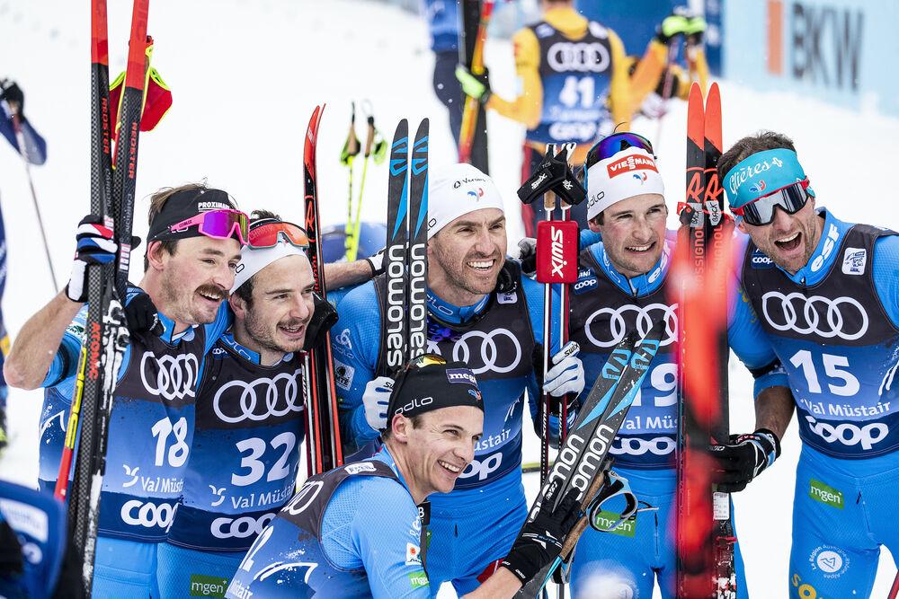 03.01.2021 Val Mustair, Switzerland (SUI):Hugo Lapalus (FRA), Jules Lapierre (FRA), Maurice Manificat (FRA), Adrien Backscheider (FRA), Jean Marc Gaillard (FRA), Clement Parisse (FRA), (l-r)  - FIS world cup cross-country, tour de ski, pursuit men, Val M