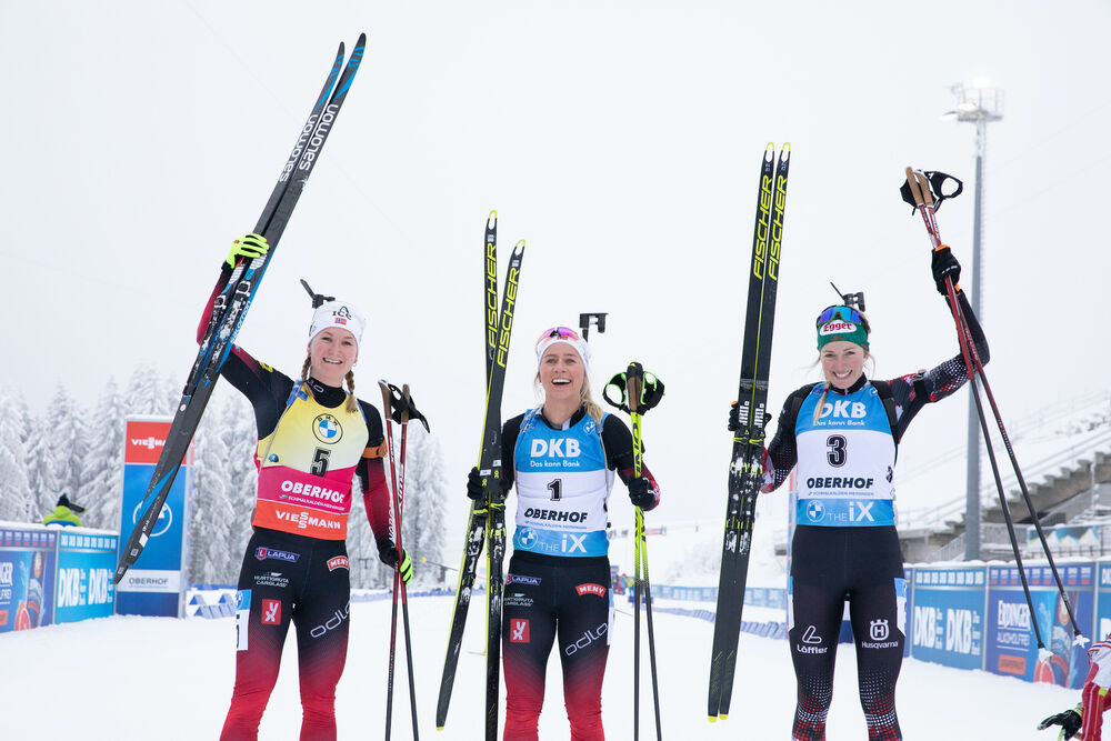 09.01.2021, Oberhof, Germany (GER):Marte Olsbu Roeiseland (NOR), Tiril Eckhoff (NOR), Lisa Theresa Hauser (AUT), (l-r) -  IBU World Cup Biathlon, pursuit women, Oberhof (GER). www.nordicfocus.com. © Manzoni/NordicFocus. Every downloaded picture is fee-l