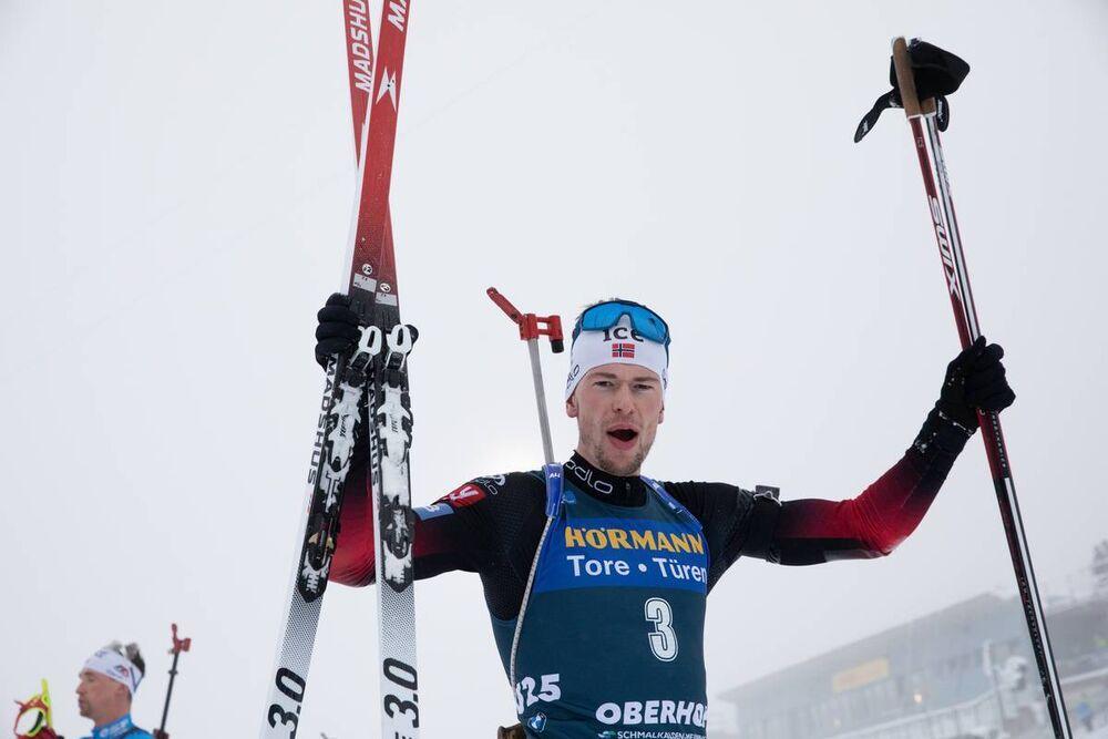 09.01.2021, Oberhof, Germany (GER):Sturla Holm Laegreid (NOR) -  IBU World Cup Biathlon, pursuit men, Oberhof (GER). www.nordicfocus.com. © Manzoni/NordicFocus. Every downloaded picture is fee-liable.