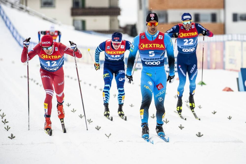 09.01.2021, Val di Fiemme, Italy (ITA):Juho Mikkonen (FIN), Ilia Semikov (RUS), Richard Jouve (FRA), Roman Furger (SUI), (l-r)  - FIS world cup cross-country, tour de ski, individual sprint, Val di Fiemme (ITA). www.nordicfocus.com. © Modica/NordicFocus