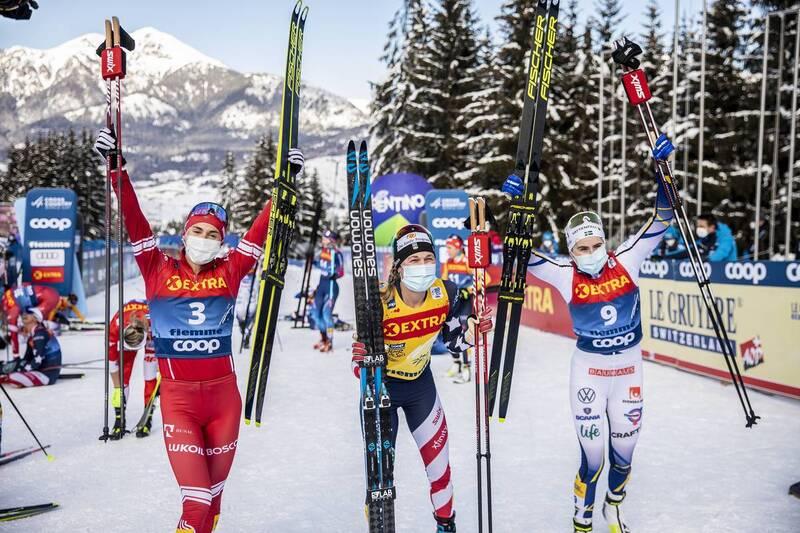 10.01.2021, Val di Fiemme, Italy (ITA): Yulia Stupak (RUS), Jessie Diggins (USA), Ebba Andersson (SWE), (l-r)  - FIS world cup cross-country, tour de ski, final climb women, Val di Fiemme (ITA). www.nordicfocus.com. © Modica/NordicFocus. Every downloaded