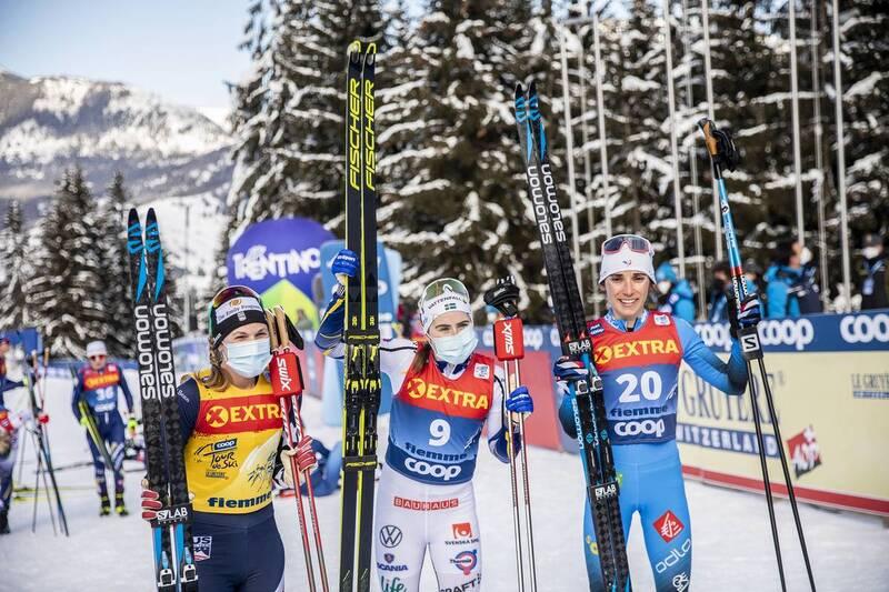 10.01.2021, Val di Fiemme, Italy (ITA): Jessie Diggins (USA), Ebba Andersson (SWE), Delphine Claudel (FRA), (l-r)  - FIS world cup cross-country, tour de ski, final climb women, Val di Fiemme (ITA). www.nordicfocus.com. © Modica/NordicFocus. Every downlo