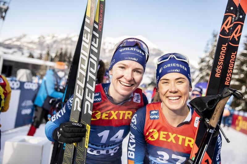 10.01.2021, Val di Fiemme, Italy (ITA): Nadine Faehndrich (SUI), Laurien Van Der Graaff (SUI), (l-r)  - FIS world cup cross-country, tour de ski, final climb women, Val di Fiemme (ITA). www.nordicfocus.com. © Modica/NordicFocus. Every downloaded picture