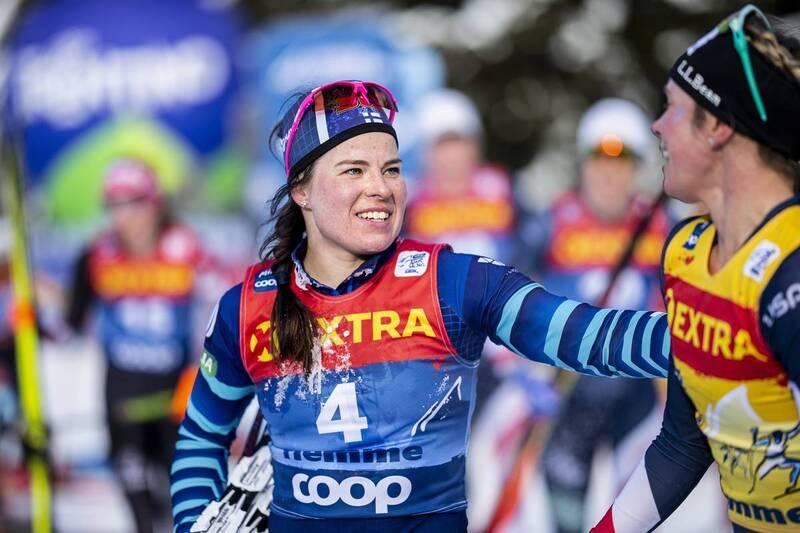 10.01.2021, Val di Fiemme, Italy (ITA): Krista Parmakoski (FIN), Jessie Diggins (USA), (l-r)  - FIS world cup cross-country, tour de ski, final climb women, Val di Fiemme (ITA). www.nordicfocus.com. © Modica/NordicFocus. Every downloaded picture is fee-l