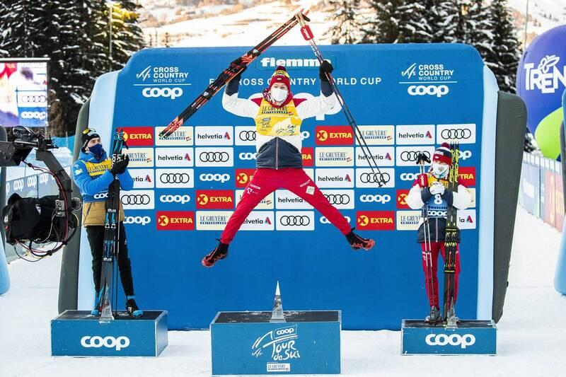 10.01.2021, Val di Fiemme, Italy (ITA): Maurice Manificat (FRA), Alexander Bolshunov (RUS), Denis Spitsov (RUS), (l-r), (l-r)  - FIS world cup cross-country, tour de ski, final climb men, Val di Fiemme (ITA). www.nordicfocus.com. © Modica/NordicFocus. Ev