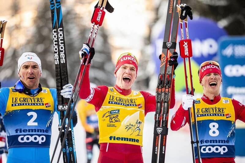 10.01.2021, Val di Fiemme, Italy (ITA): Maurice Manificat (FRA), Alexander Bolshunov (RUS), Denis Spitsov (RUS), +g+, (l-r)  - FIS world cup cross-country, tour de ski, final climb men, Val di Fiemme (ITA). www.nordicfocus.com. © Modica/NordicFocus. Ever