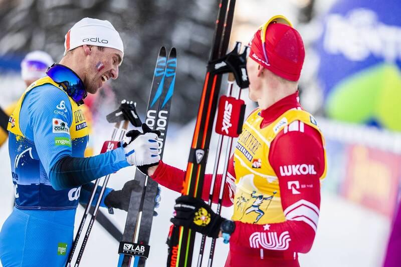 10.01.2021, Val di Fiemme, Italy (ITA): Maurice Manificat (FRA), Alexander Bolshunov (RUS), (l-r)  - FIS world cup cross-country, tour de ski, final climb men, Val di Fiemme (ITA). www.nordicfocus.com. © Modica/NordicFocus. Every downloaded picture is fe