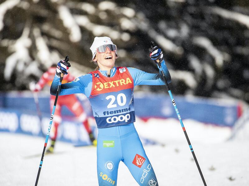 10.01.2021, Val di Fiemme, Italy (ITA):Delphine Claudel (FRA) - FIS world cup cross-country, tour de ski, final climb women, Val di Fiemme (ITA). www.nordicfocus.com. © Modica/NordicFocus. Every downloaded picture is fee-liable.