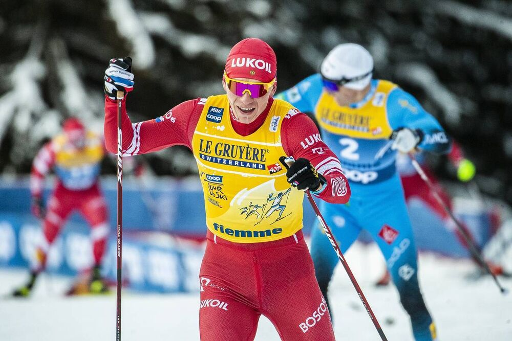 10.01.2021, Val di Fiemme, Italy (ITA):Alexander Bolshunov (RUS) - FIS world cup cross-country, tour de ski, final climb men, Val di Fiemme (ITA). www.nordicfocus.com. © Modica/NordicFocus. Every downloaded picture is fee-liable.