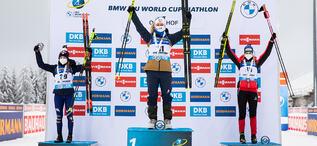 14.01.2021, Oberhof, Germany (GER):Dorothea Wierer (ITA), Tiril Eckhoff (NOR), Lisa Theresa Hauser (AUT), (l-r) -  IBU World Cup Biathlon, sprint women, Oberhof (GER). www.biathlonworld.com © Manzoni/IBU. Handout picture by the International Biathlon Un