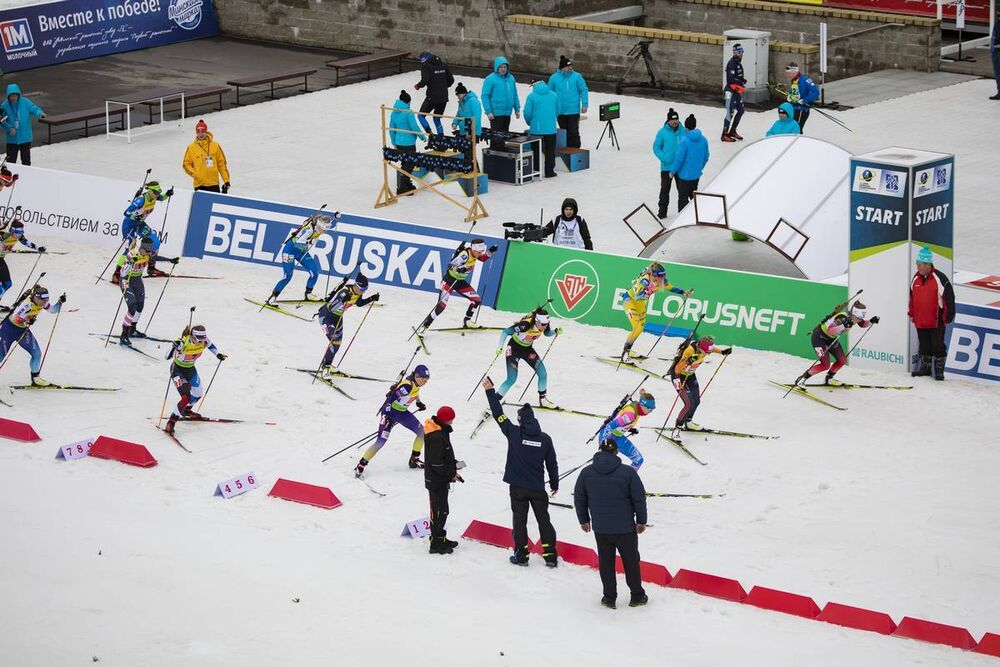 27.02.2020, Minsk-Raubichi, Belarus (BLR):Tereza Vinklarkova (CZE), Ingela Andersson (SWE), Caroline Colombo (FRA), Anastasiya Merkushyna (UKR), Karoline Erdal (NOR), Stefanie Scherer (GER), Evgeniya Pavlova (RUS), Alexia Runggaldier (ITA), Dunja Zdouc (