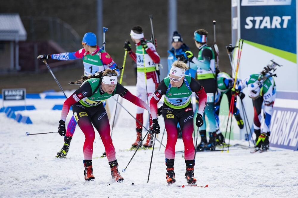 27.02.2020, Minsk-Raubichi, Belarus (BLR):Sivert Guttorm Bakken (NOR), Aleksander Fjeld Andersen (NOR), (l-r) - IBU Open European Championships Biathlon, relay mixed, Minsk-Raubichi (BLR). www.nordicfocus.com. © Manzoni/NordicFocus. Every downloaded pic