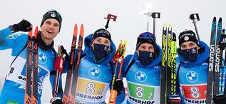 15.01.2021, Oberhof, Germany (GER):Emilien Jacquelin (FRA), Fabien Claude (FRA), Quentin Fillon Maillet (FRA), Simon Desthieux (FRA), (l-r) -  IBU World Cup Biathlon, relay men, Oberhof (GER). www.biathlonworld.com © Manzoni/IBU. Handout picture by the