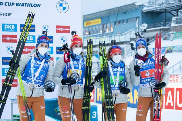 16.01.2021, Oberhof, Germany (GER):Franziska Preuss (GER), Denise Herrmann (GER), Janina Hettich (GER), Vanessa Hinz (GER), (l-r) -  IBU World Cup Biathlon, relay women, Oberhof (GER). www.nordicfocus.com. © Manzoni/NordicFocus. Every downloaded picture
