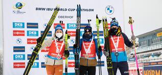17.01.2021, Oberhof, Germany (GER):Franziska Preuss (GER), Julia Simon (FRA), Hanna Oeberg (SWE), (l-r) -  IBU World Cup Biathlon, mass women, Oberhof (GER). www.biathlonworld.com © Manzoni/IBU. Handout picture by the International Biathlon Union. For e