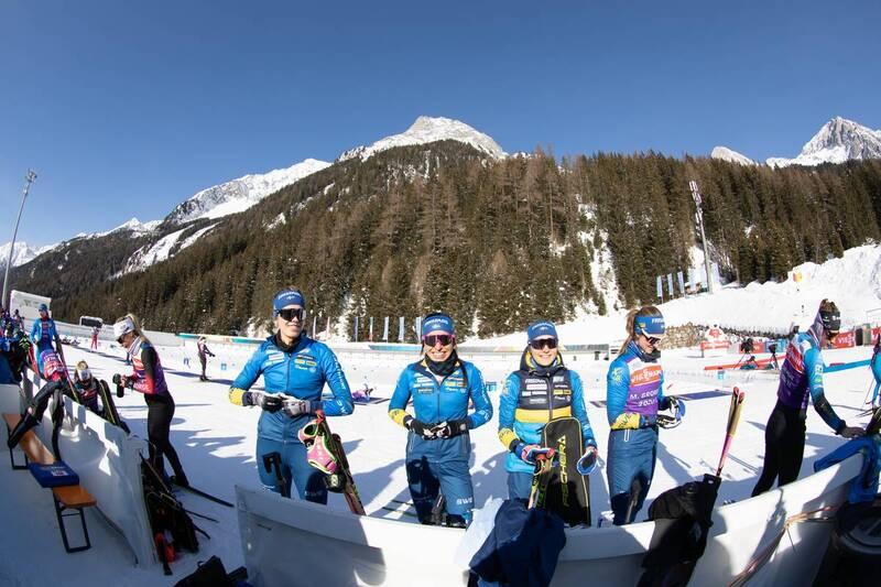 20.01.2021, Antholz, Italy (ITA): Elvira Oeberg (SWE), Elisabeth Hoegberg (SWE), Tilda Johansson (SWE), Mona Brorsson (SWE), (l-r) -  IBU World Cup Biathlon, training, Antholz (ITA). www.nordicfocus.com. © Manzoni/NordicFocus. Every downloaded picture is