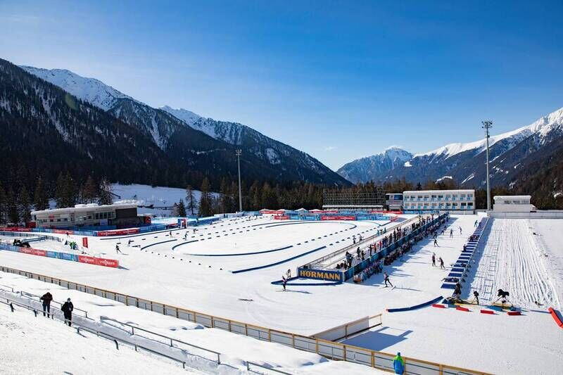 20.01.2021, Antholz, Italy (ITA):Event Feature: Overview over the venue of Antholz with the shooting range and the stadium infield -  IBU World Cup Biathlon, training, Antholz (ITA). www.nordicfocus.com. © Manzoni/NordicFocus. Every downloaded picture i