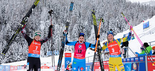 23.01.2021, Antholz, Italy (ITA):Lisa Theresa Hauser (AUT), Julia Simon (FRA), Hanna Oeberg (SWE), (l-r) -  IBU World Cup Biathlon, mass women, Antholz (ITA). www.biathlonworld.com © Manzoni/IBU. Handout picture by the International Biathlon Union. For