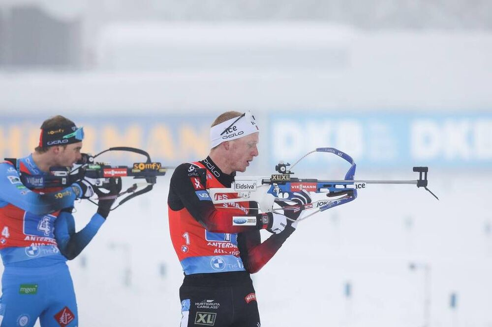 23.01.2021, Antholz, Italy (ITA):Johannes Thingnes Boe (NOR), Emilien Jacquelin (FRA) -  IBU World Cup Biathlon, relay men, Antholz (ITA). www.nordicfocus.com. © Manzoni/NordicFocus. Every downloaded picture is fee-liable.