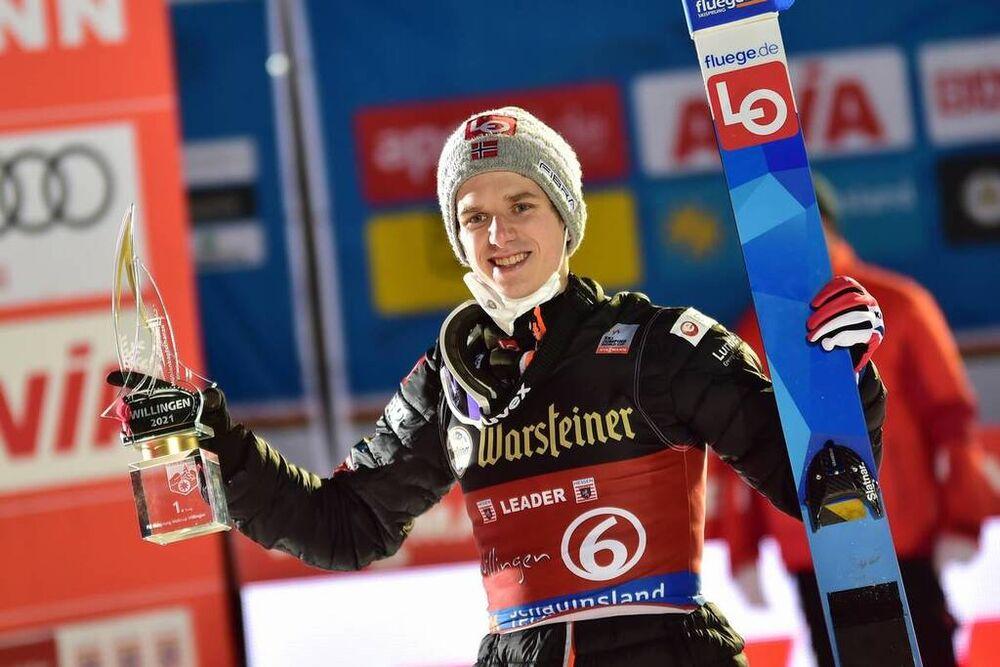 30.01.2021 Willingen, Germany (GER):Halvor Egner Granerud (NOR), podium - FIS world cup ski jumping men, individual HS147, Willingen (GER). www.nordicfocus.com. © Reichert/NordicFocus. Every downloaded picture is fee-liable.