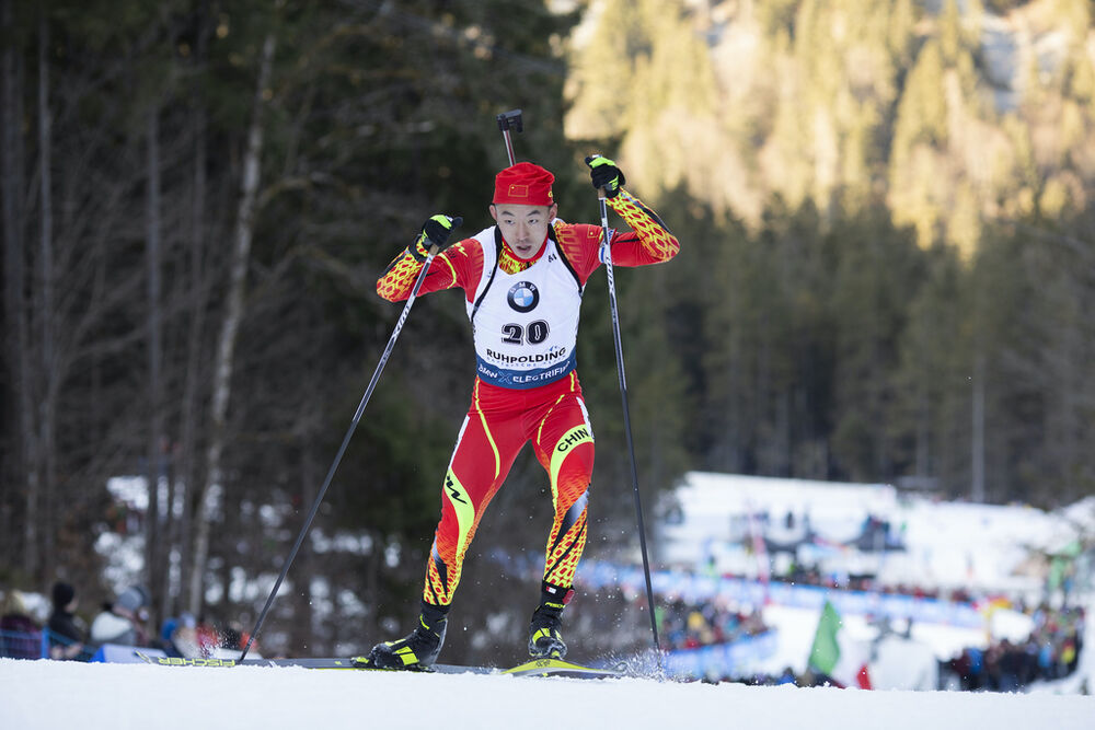 16.01.2020, Ruhpolding, Germany (GER):Fangming Cheng (CHN) -  IBU world cup biathlon, sprint men, Ruhpolding (GER). www.nordicfocus.com. © Manzoni/NordicFocus. Every downloaded picture is fee-liable.