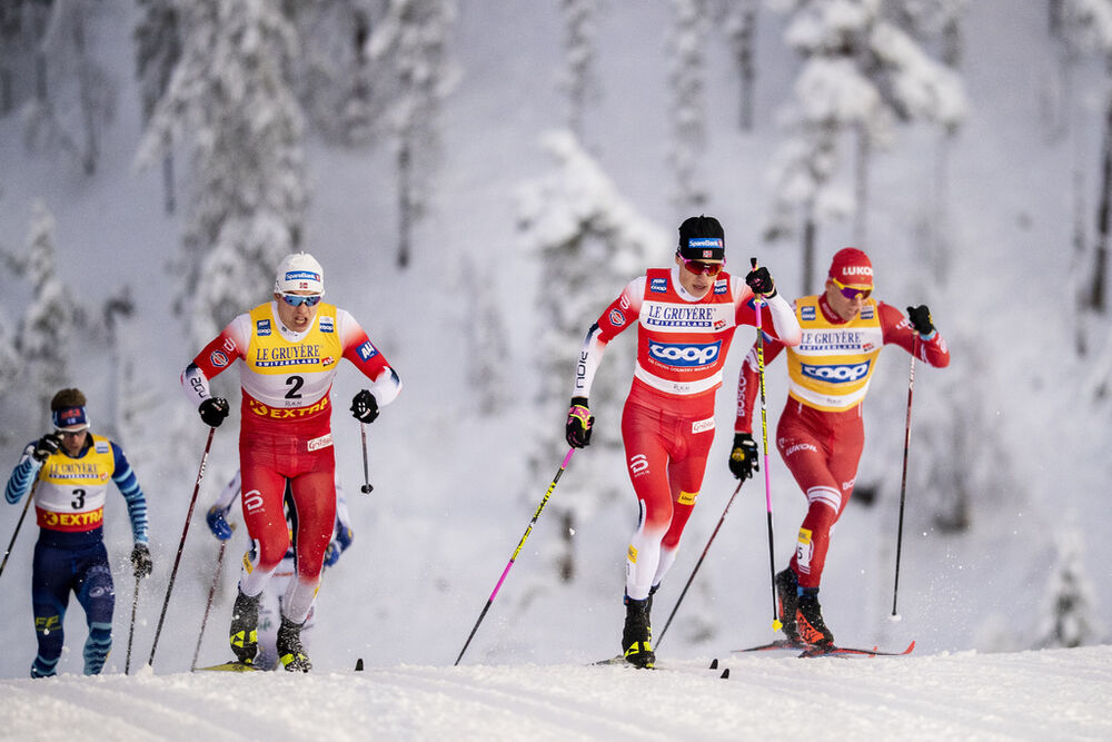 27.11.2020, Ruka, Finland (FIN):Johannes Hoesflot Klaebo (NOR), Erik Valnes (NOR), Alexander Bolshunov (RUS), (l-r)  - FIS world cup cross-country, individual sprint, Ruka (FIN). www.nordicfocus.com. © Modica/NordicFocus. Every downloaded picture is fee